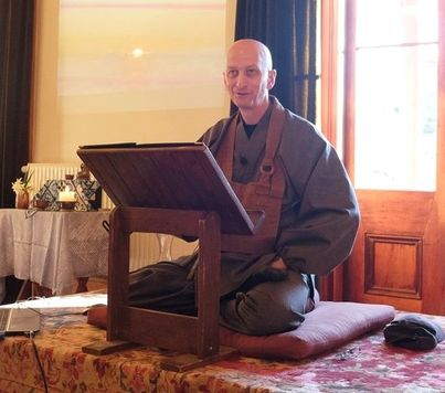 Zen Teacher Shugen Sensei leads a weekend Zen Buddhist workshop. Nelson, NZ
